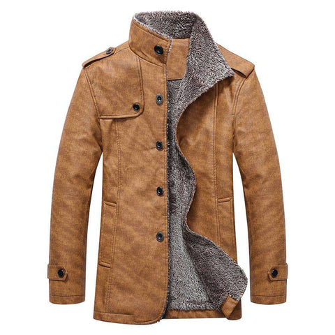 Epaulet Design Stand Collar Single Breasted Coat - 24/7 bestdeals
