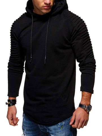 Solid Color Pleated Sleeve Long Fleece Hoodie - 24/7 bestdeals