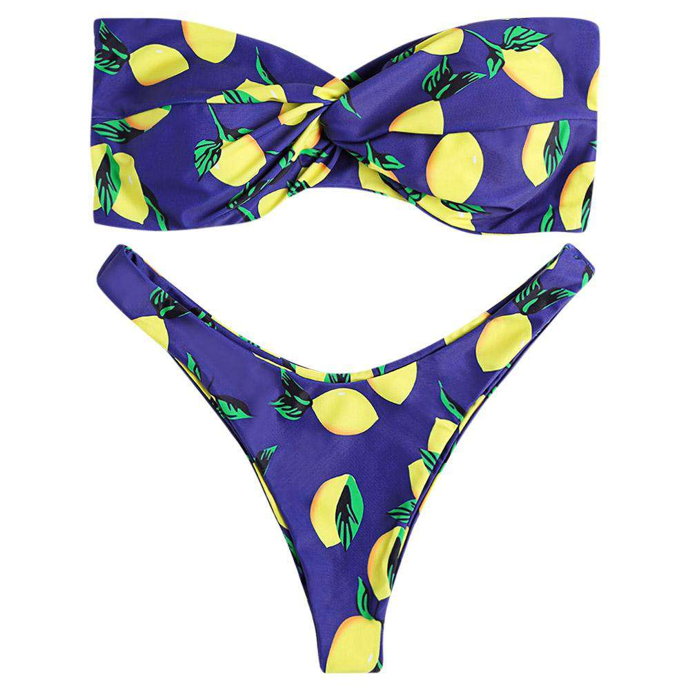 Strapless Backless Padded Lemon Print Low Waist Women Bikini Set