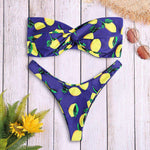 Strapless Backless Padded Lemon Print Low Waist Women Bikini Set - 24/7 bestdeals