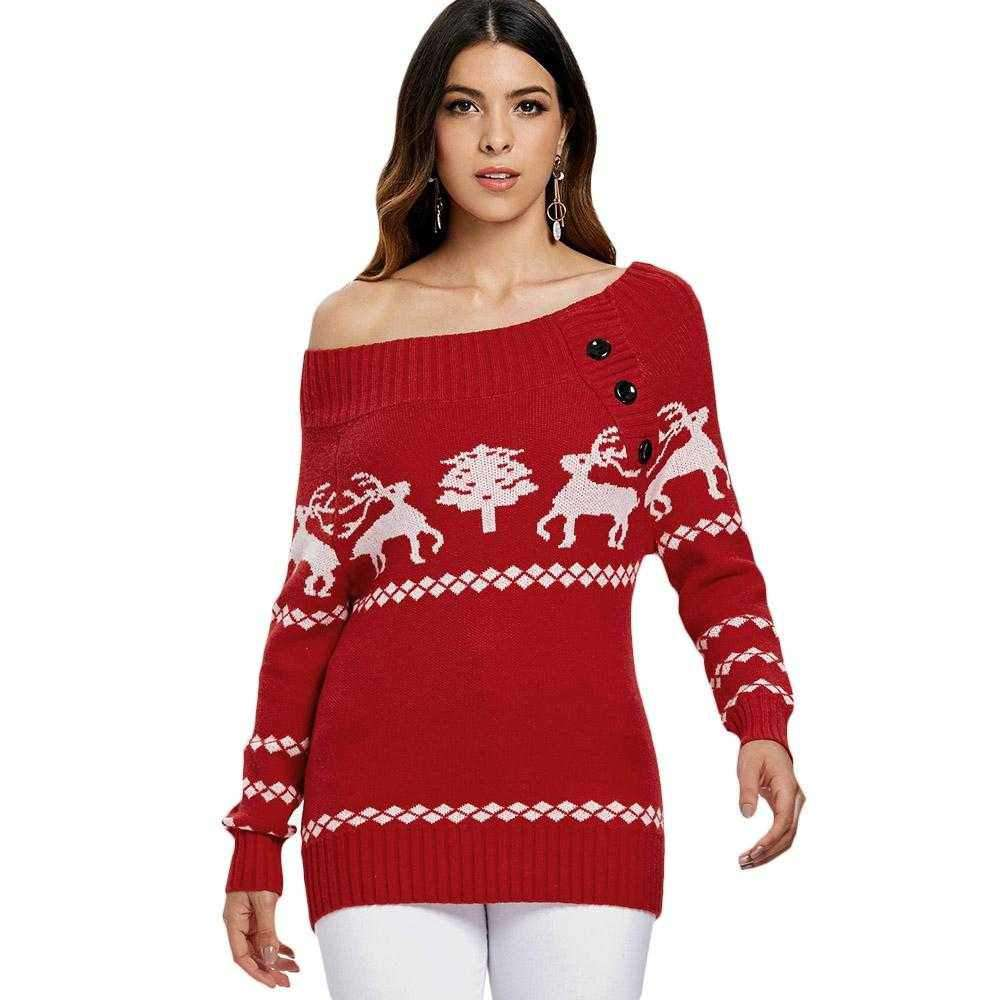Off The Shoulder Reindeer Knit Tunic Sweater