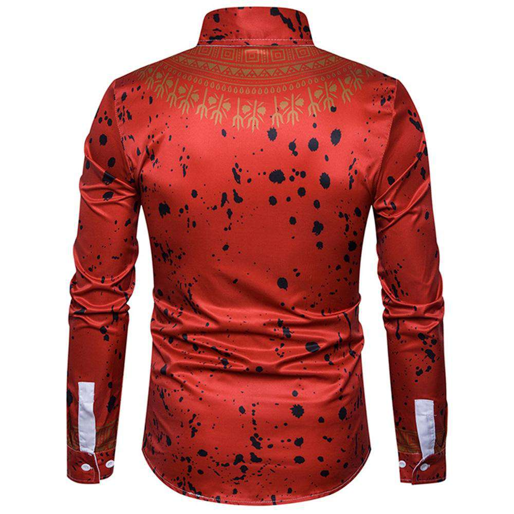Ethnic Geometric Splatter Paint Print Shirt