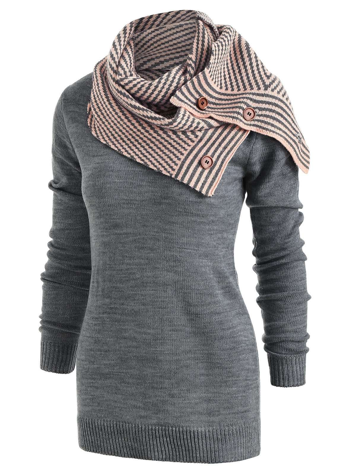 Pullover Sweater with Striped Scarf