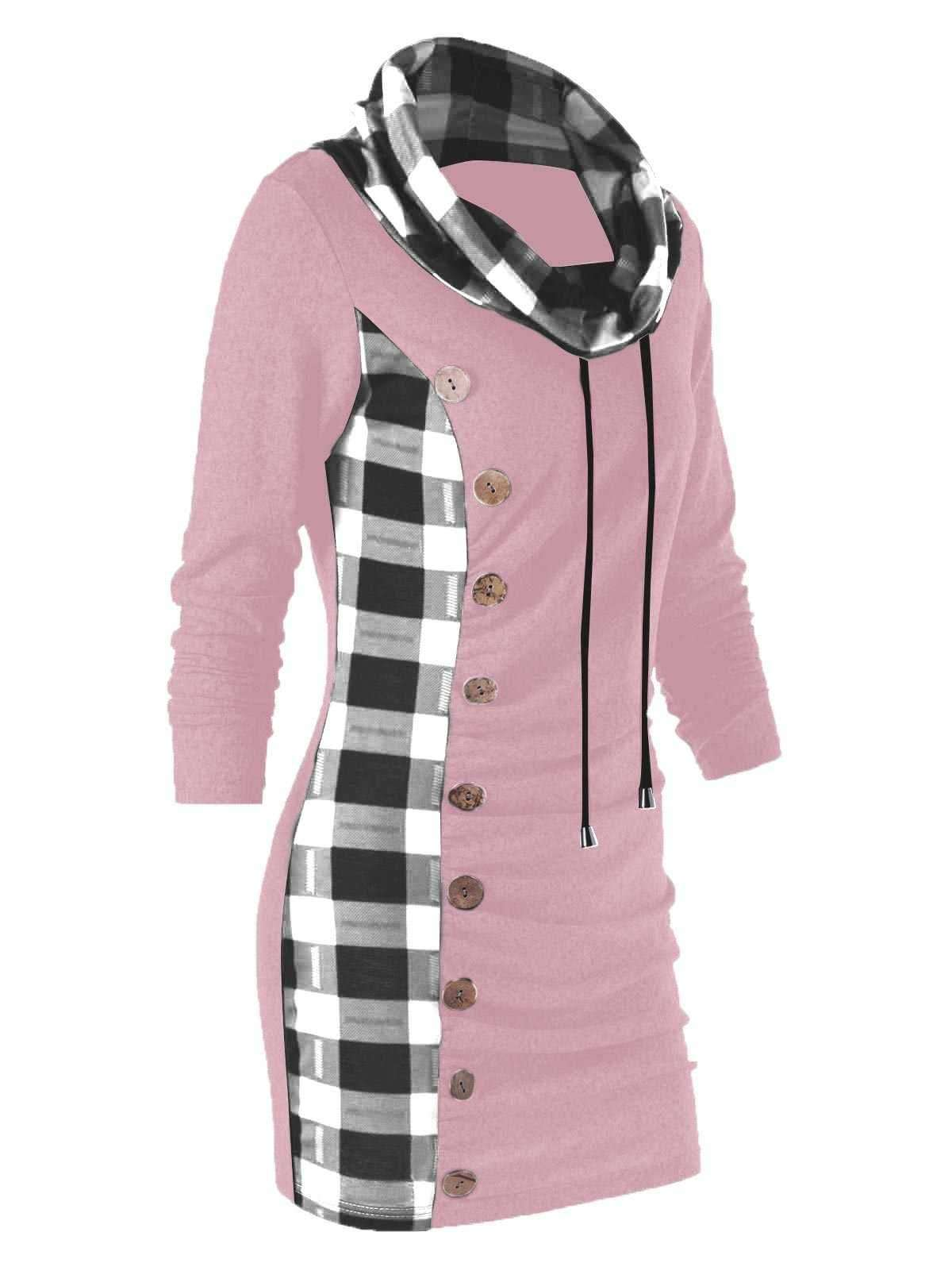 Plaid Trim Cowl Neck Tunic Sweatshirt Dress