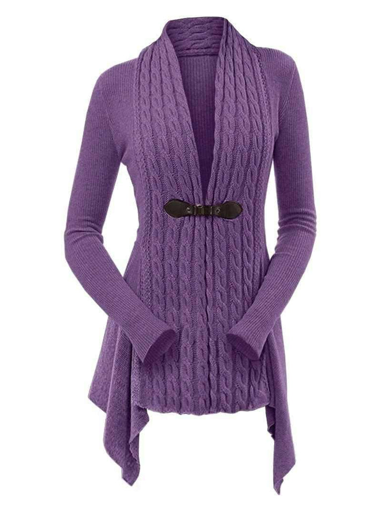 Cable Knit Buckle Asymmetrical Cardigan - 24/7 bestdeals