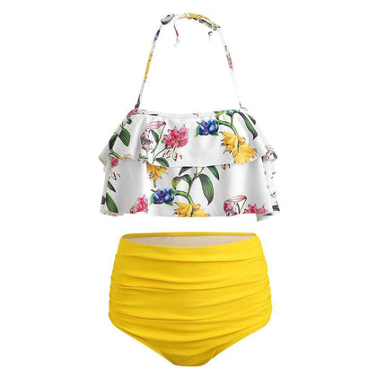 Floral High Waist Halter Bikini Set