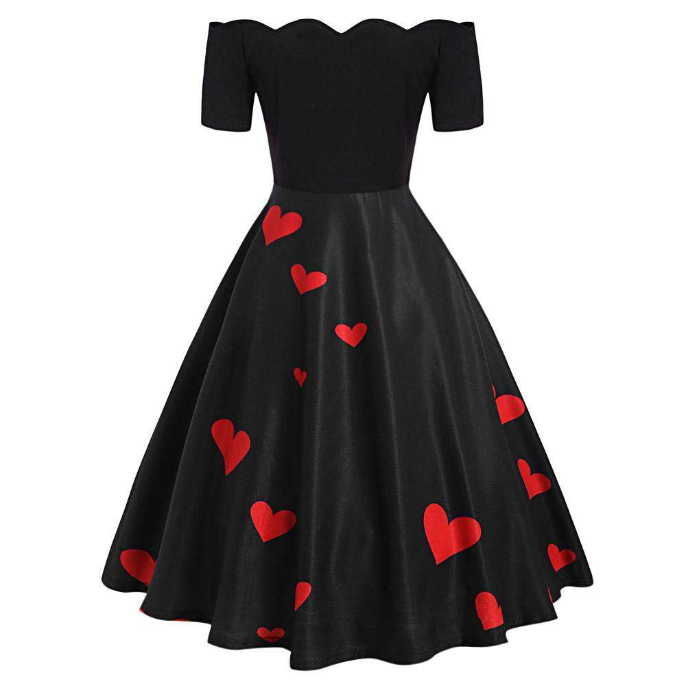 Off The Shoulder Valentines Day Heart Print Dress