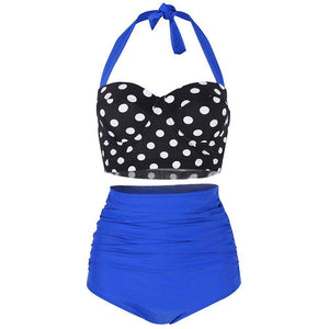 Dotted Ruched Halter Bikini Set