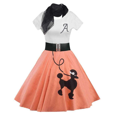 Retro Poodle Print High Waist Skater Dress - 24/7 bestdeals