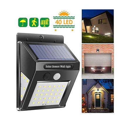 BRELONG Solar LED Wall Lamp IP65 Waterproof Three-Sided Lighting Motion Sensor - 24/7 bestdeals