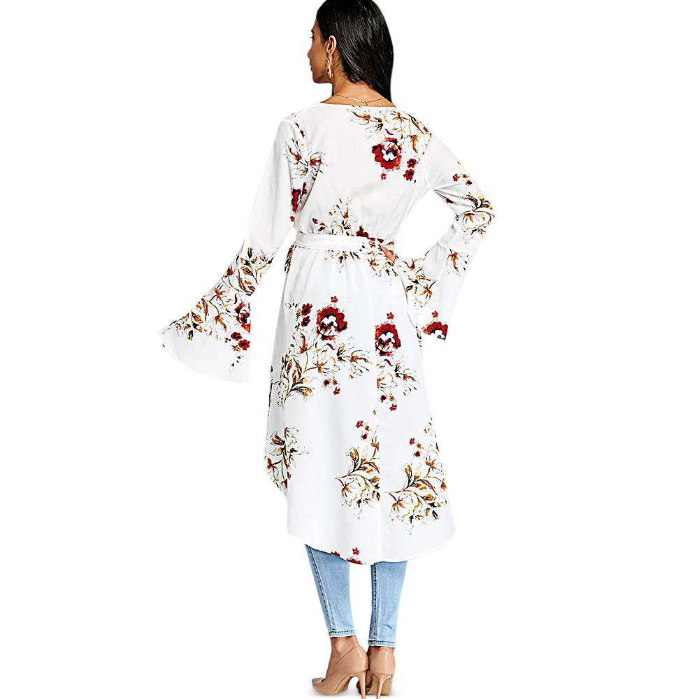 Plunge Neck Bell Sleeve Floral Print Belted Asymmetric High-low Women Long Shirt - 24/7 bestdeals