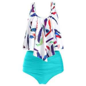 Feather Leaf Flounce Ruched Tankini Set