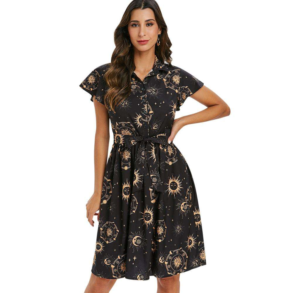 Sun Moon and Star Print Belted Skater Dress