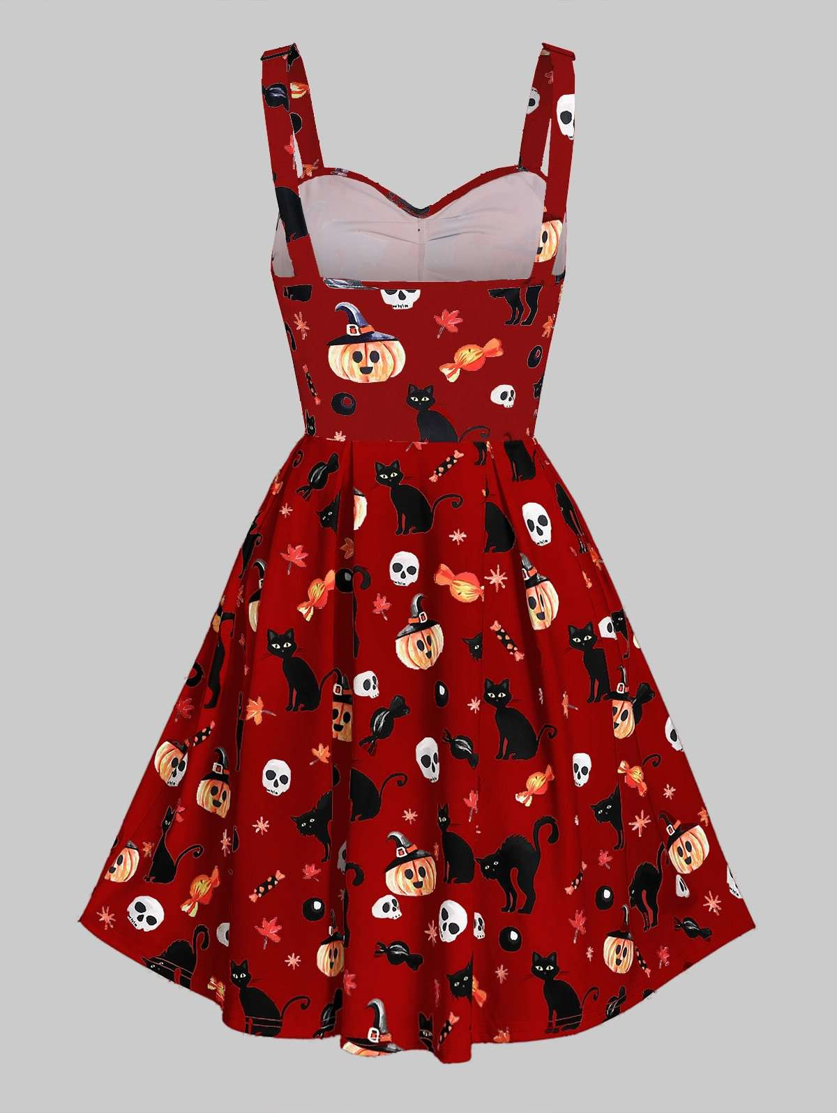 Sweetheart Neck Cat Pumpkin Print Fit And Flare Halloween Dress
