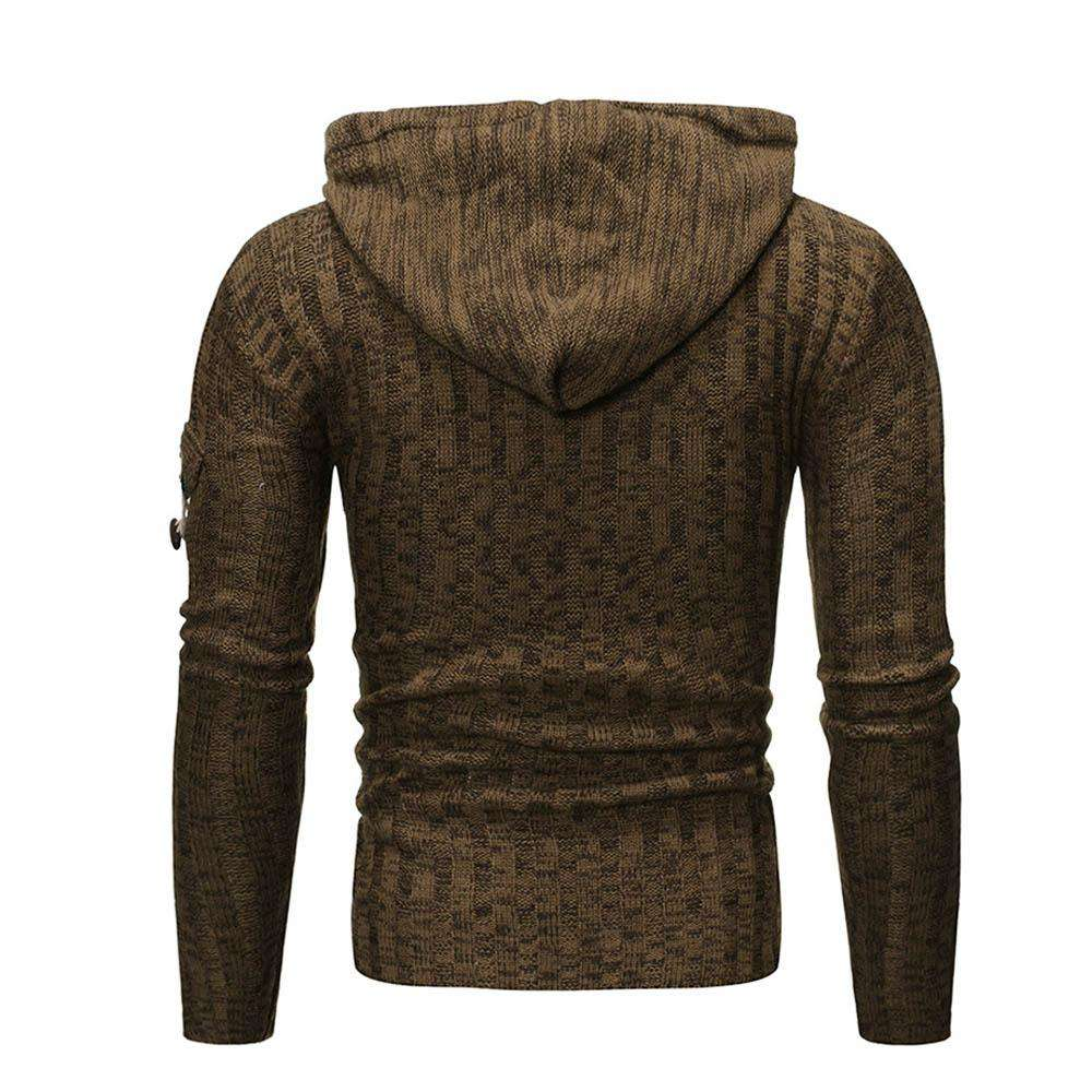 Cable Knit Button Pullover Hooded Sweater