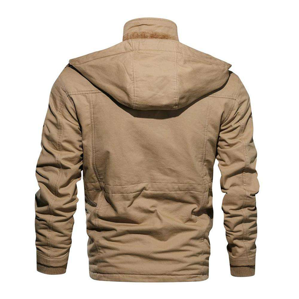 Faux Fur Lined Waist Drawstring Cargo Jacket