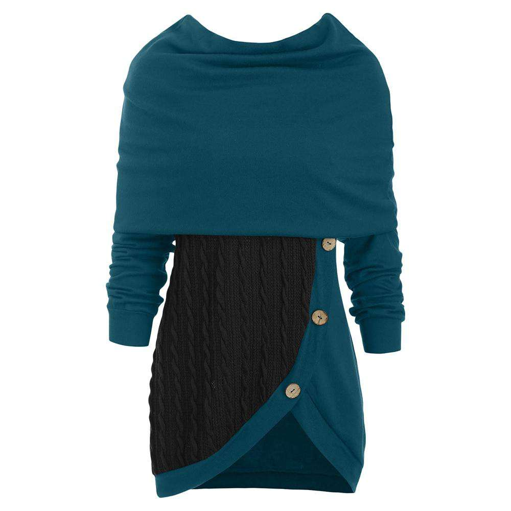 Cowl Neck Cable Knit Tunic Knitwear for Women - 24/7 bestdeals