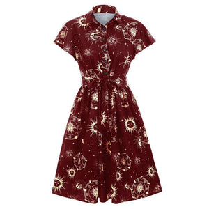 Sun Moon and Star Print Belted Skater Dress - 24/7 bestdeals