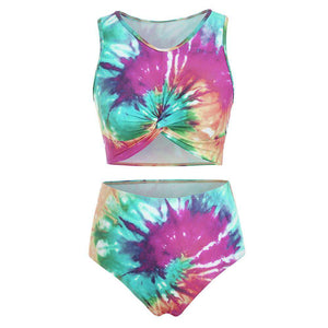 Twist Front Tie Dye Scoop Neck Tankini Swimsuit