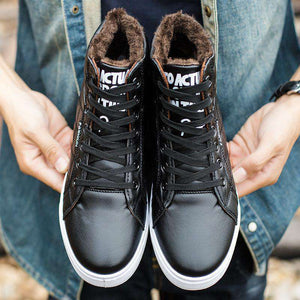 High-top Martin boots plus velvet warm cotton shoes flat with lace high-top men's shoes