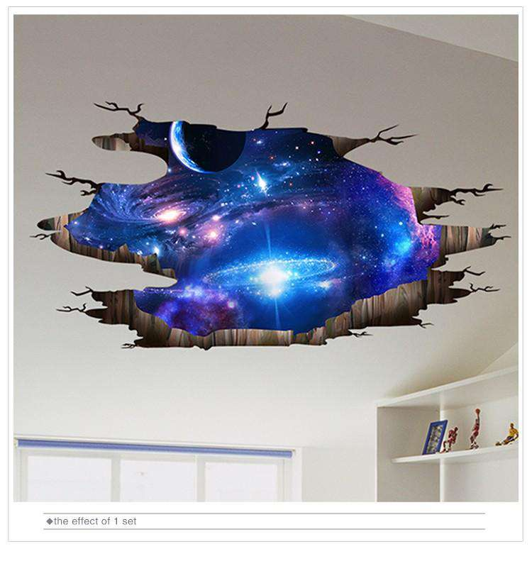 [SHIJUEHEZI] 3D Wall Stickers Cosmic Galaxy Planet Wall Decor Outer Space Poster for Kids Room Baby Bedroom Ceiling Decoration