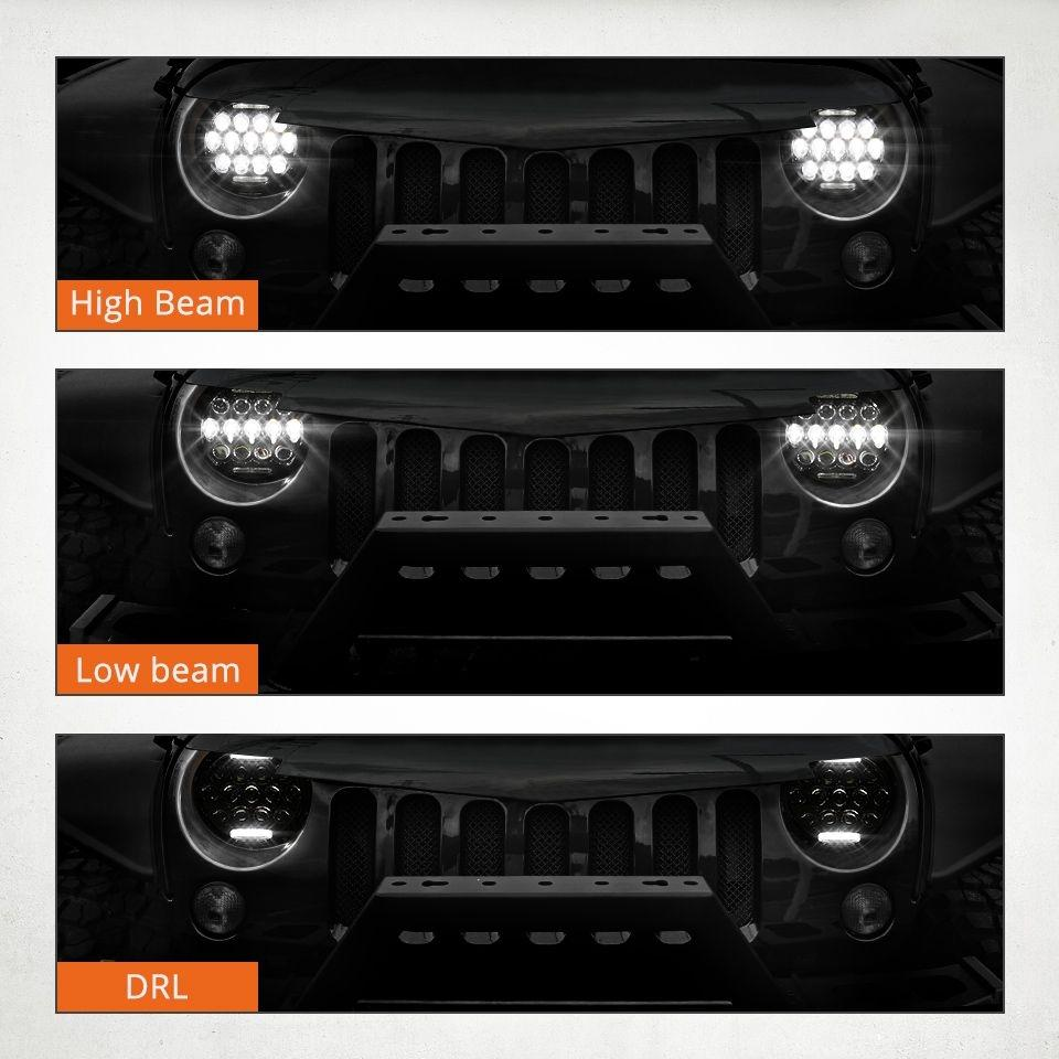 Rough III 97-18 Jeep Wrangler LED Headlights TJ, LJ, JK, JKU-MJ's Offroad