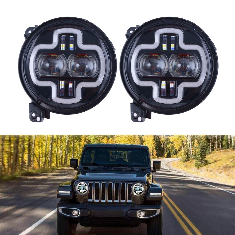 "Rough VI 2018-2020 Jeep Wrangler JL, JLU & Gladiator 9"" LED Halo DRL Headlights"