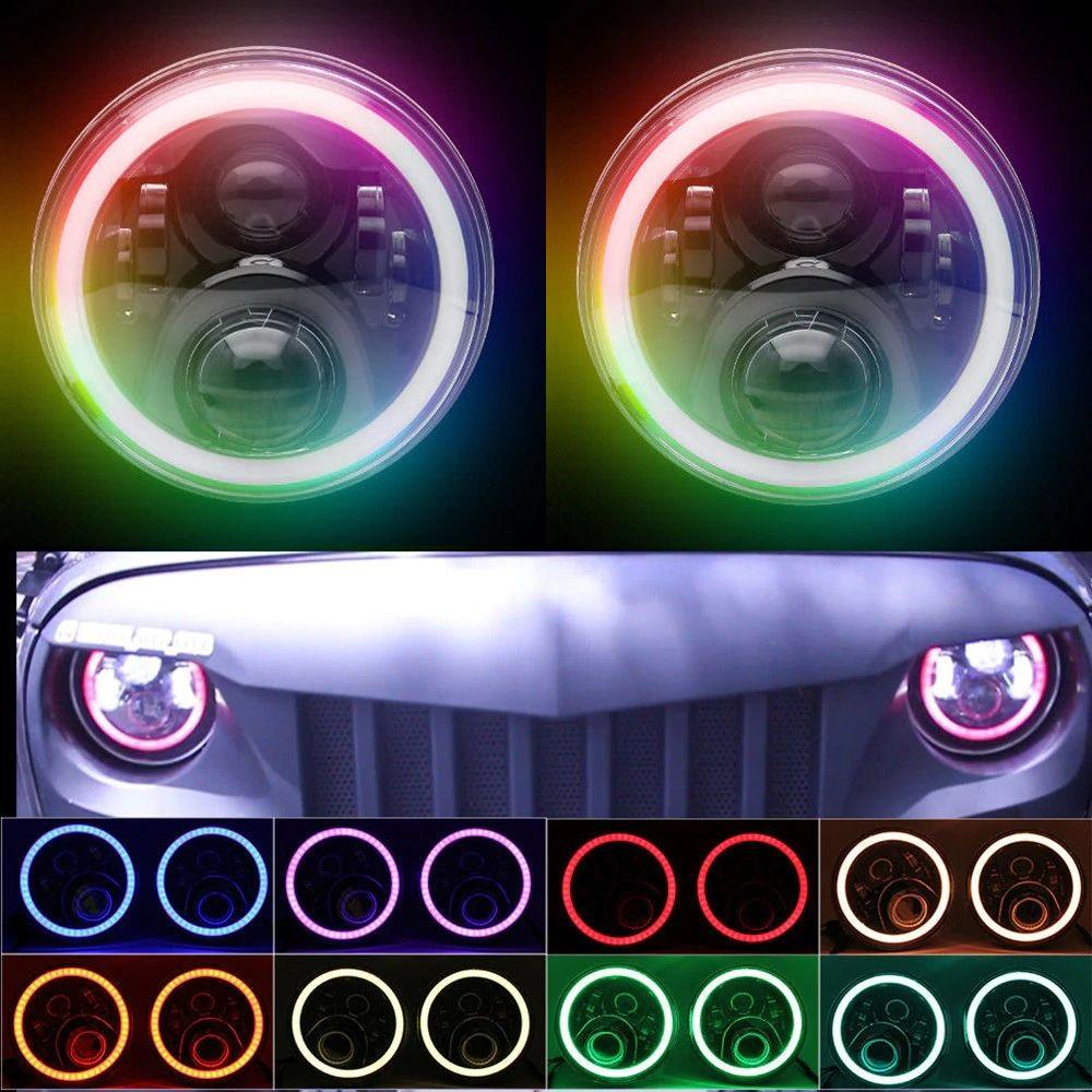 Rough IV 97-18 Jeep Wrangler RGB Bluetooth Multi-Color LED Headlights TJ, LJ, JK, JKU
