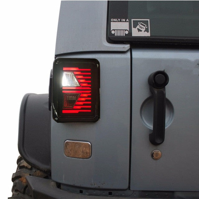 Ultimate V 07-18 Jeep Wrangler LED Tail Lights with Arrow Turn Signal JK & JK Unlimited