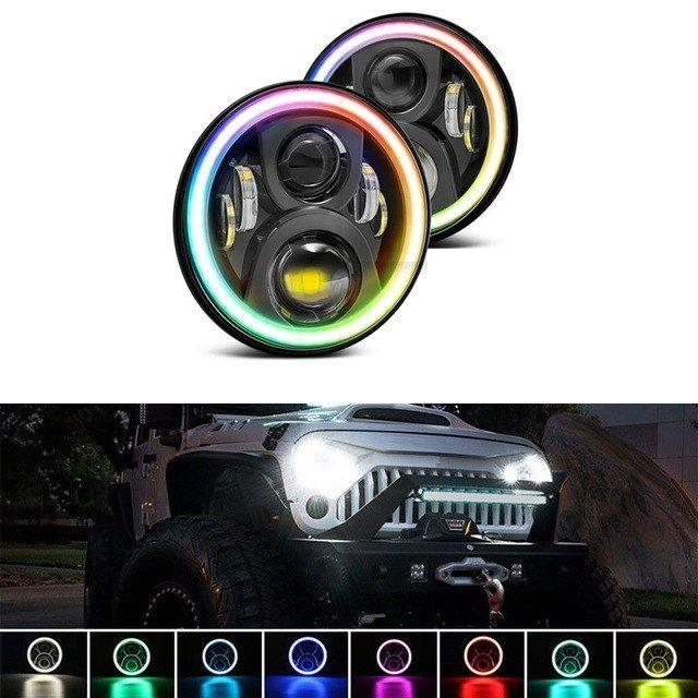 Rough IV 97-18 Jeep Wrangler RGB Bluetooth Multi-Color LED Headlights TJ, LJ, JK, JKU-MJ's Offroad