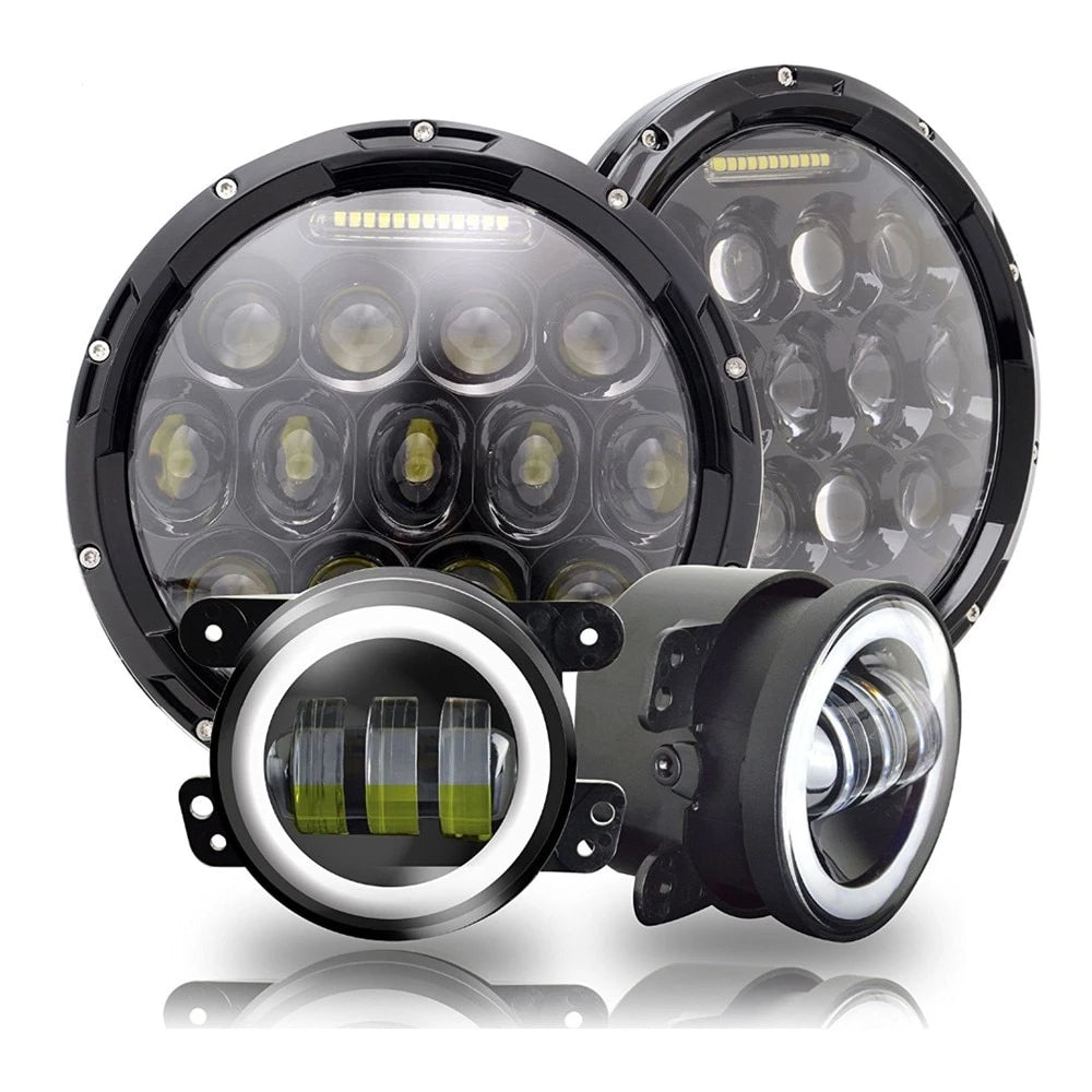 Rough III Headlights & Extreme I Fog Lights Value Pack - 07-18 Jeep Wrangler JK & JKU LED Headlight and Fog Lights