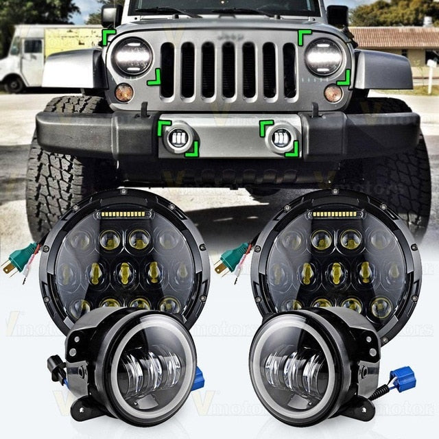 Rough III Headlights & Extreme I Fog Lights Value Pack V - 07-18 Jeep Wrangler JK & JKU LED Headlight and Fog Lights-MJ's Offroad