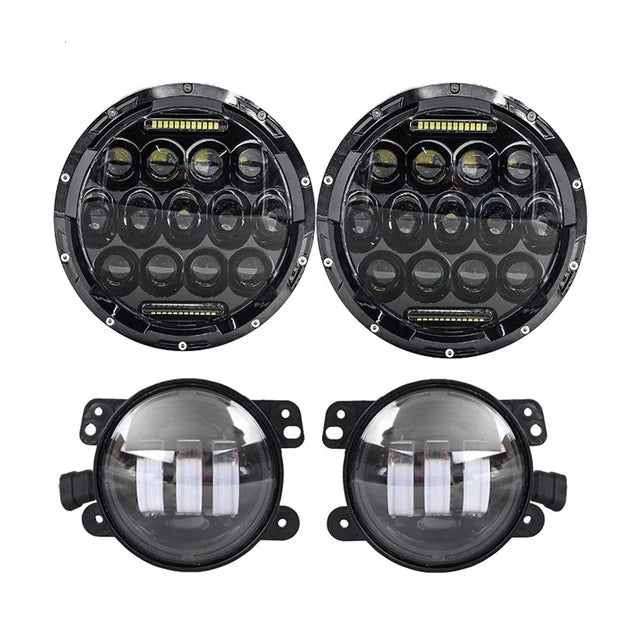 Rough III Headlights & Extreme IV Fog Lights Value Pack IV - 07-18 Jeep Wrangler JK & JKU LED Headlight and Fog Lights