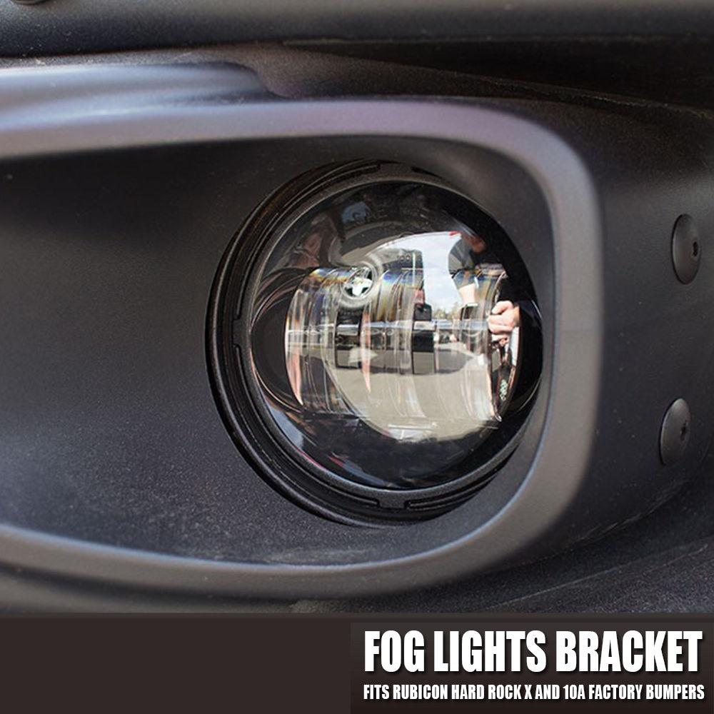 "4"" LED Fog Lights Light Front Bumper Mount Brackets For 13-18 Jeep Wrangler JK & JKU Hard Rock Rubicon X"