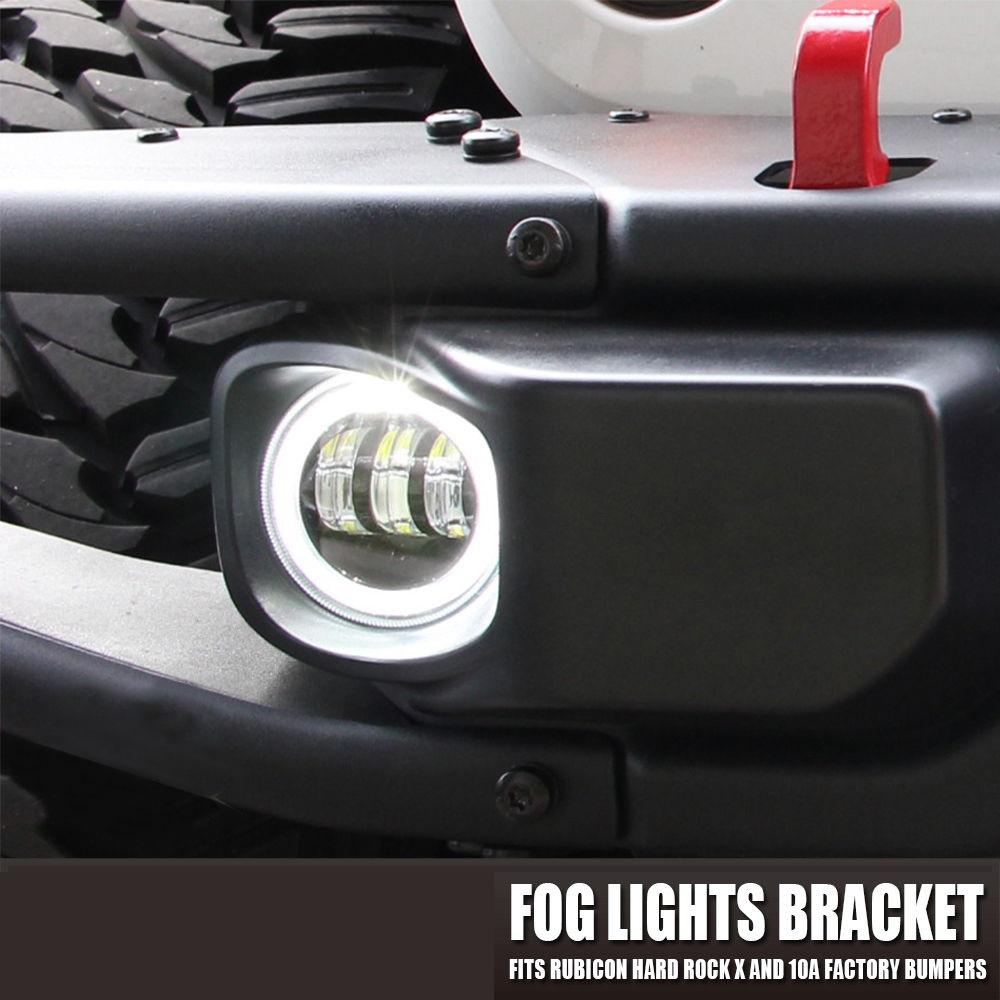 "4"" LED Fog Light Front Bumper Mount Brackets For 13-18 Jeep Wrangler JK & JKU Hard Rock Rubicon X"
