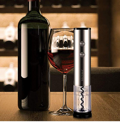 Electric Wine Bottle   Opener with Foil Cutter, Stainless Steel, Cordless (Silver)
