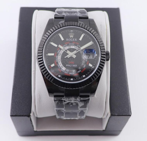 Rolex Sky Dweller Diw Custom World Timer Watches Black Dial In Black C Chinatopbags