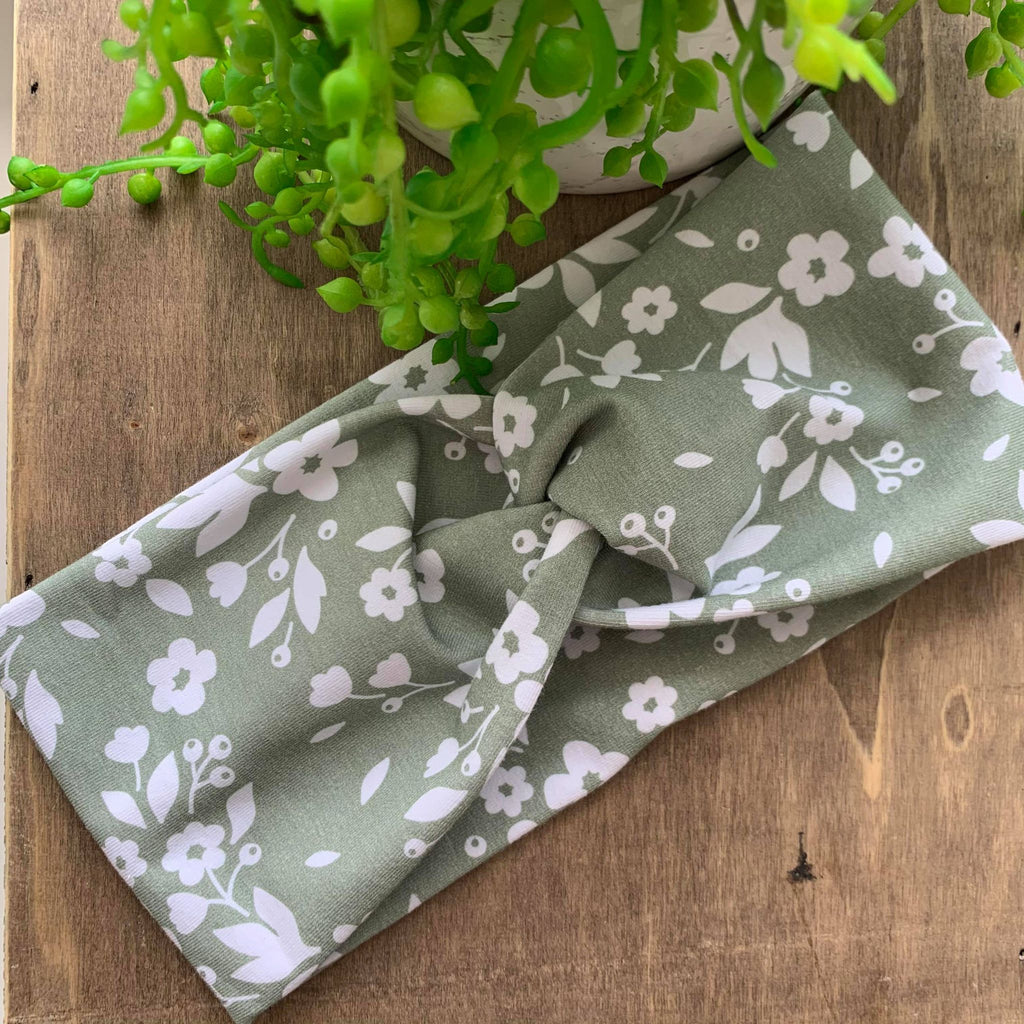 Sage Floral Adult Twist Headband