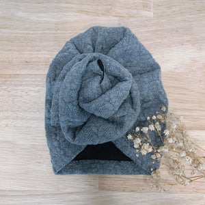 baby turban cable knit grey