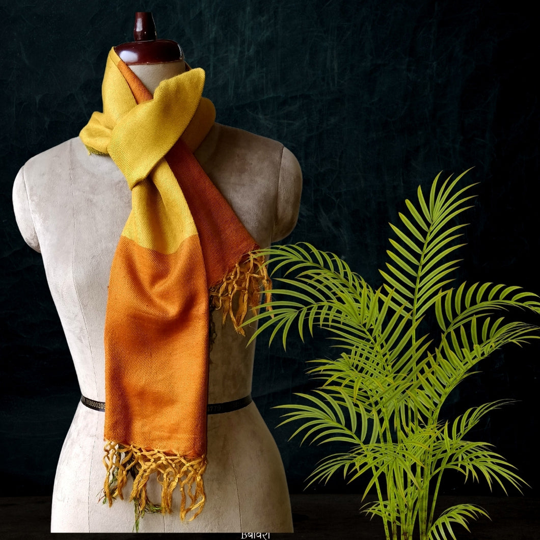 Handwoven Silk - Eri Spun Stoles _Yellow