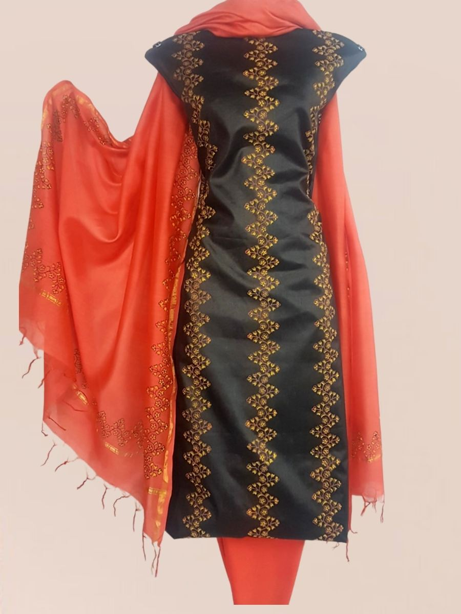 Block Printed Tussar Silk Suit with Chanderi Dupatta_Black orange