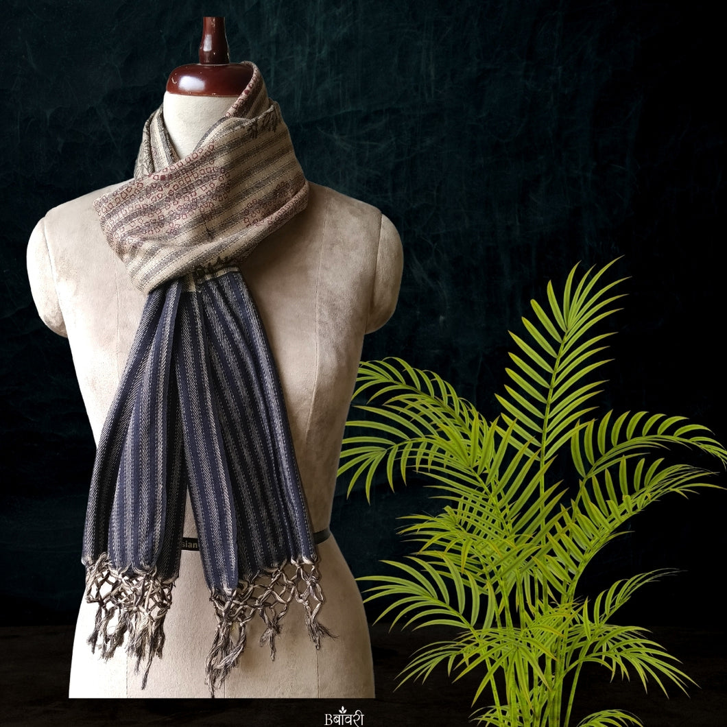Handwoven Silk - Eri Spun Stoles _Natural Striped