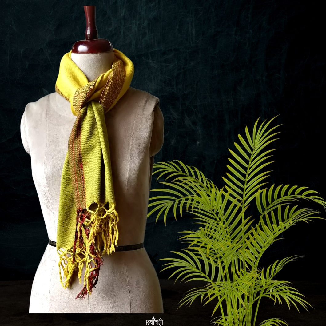 Handwoven Silk - Eri Spun Stole _ Yellow