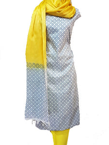 Block Printed Tussar Silk Suit in Yellow BBETUS028