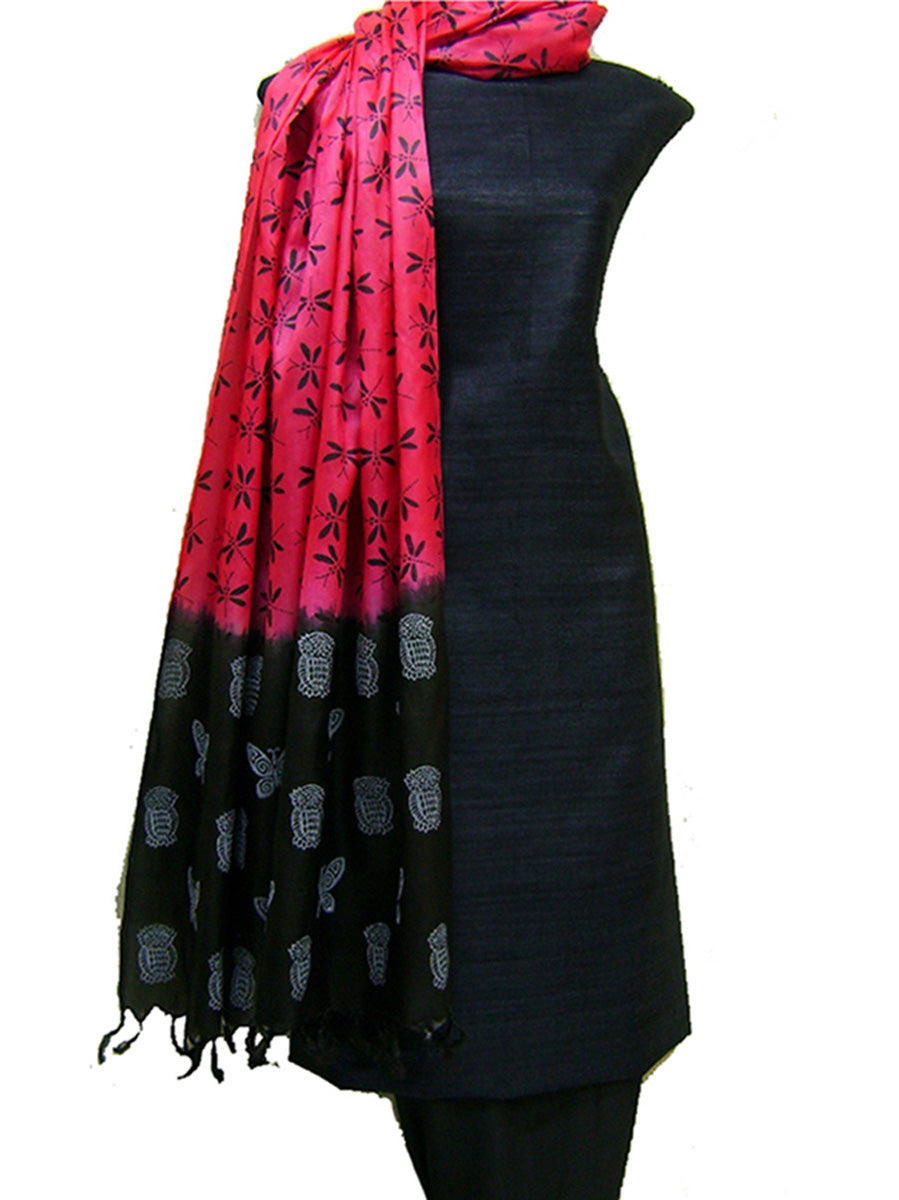Block Printed Tussar Silk Ensemble in Black Pink Color