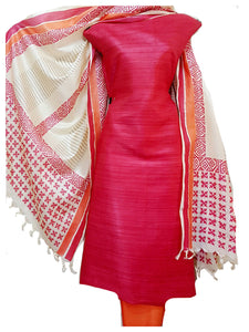 Hand Block Printed Tussar Silk Ensemble BBETU14