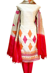 Hand Block Printed Tussar Silk Ensemble BBETU17
