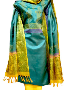 Hand Block Printed Tussar Silk Ensemble BBETU19