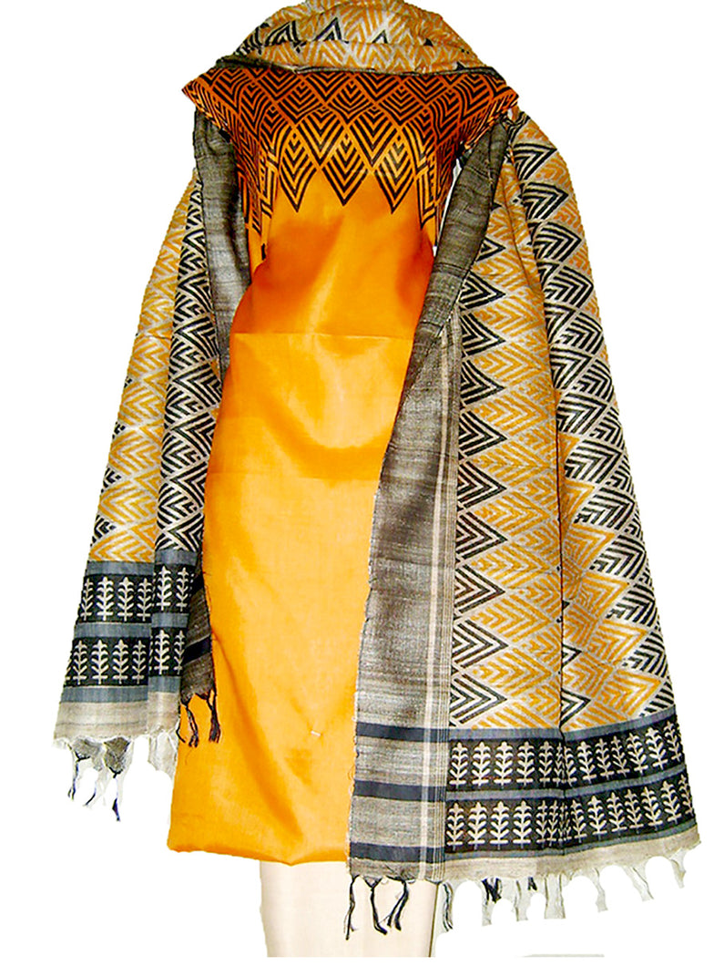 Block Printed Tussar Silk suit Ensemble in Orange Color