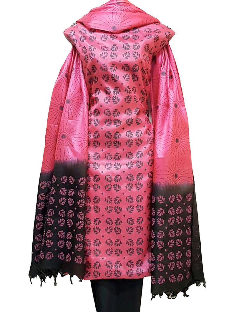 Block Printed Tussar Silk Ensemble in Pink Color